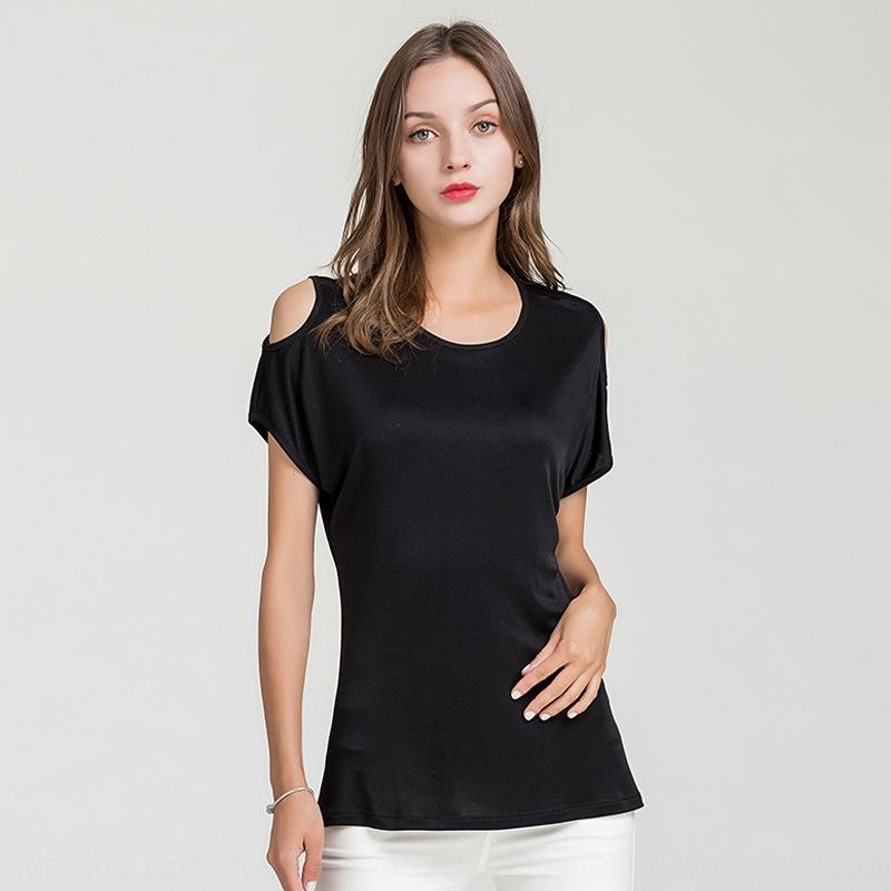 2020 Летний новый шелк с коротким рукавом T- T- рубашкой women'sshoulder корейски шелковицы трикотажной рыхлой база рубашки верх