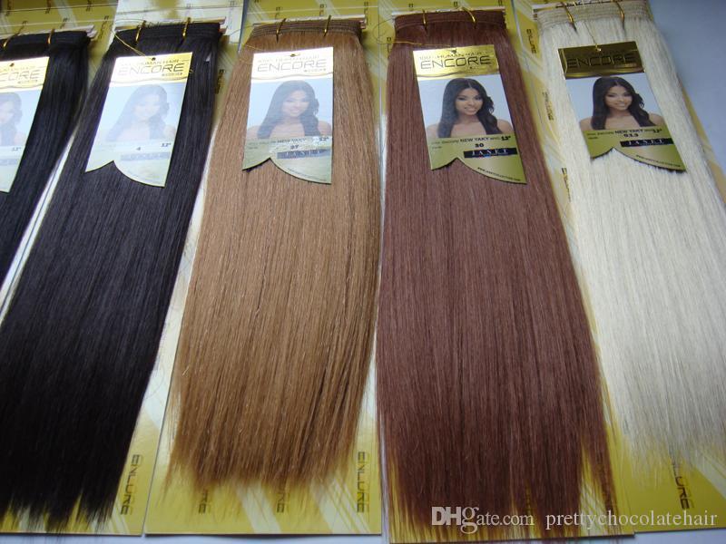 7 ألوان جانيت مجموعة ENCORE دون التعبئة مزيج الشعر الإنسان فبول الألياف ياكي مستقيم المخلوطة النسيج