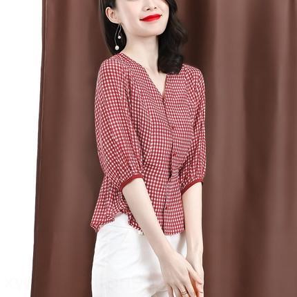 uGrNc Kadın 2020 İpek Gömlek gömlek yaz tarzı hafif olgun Hong Kong tarzı dut ipek üst kol ekose tasarım anlayışı niş kırpılmış