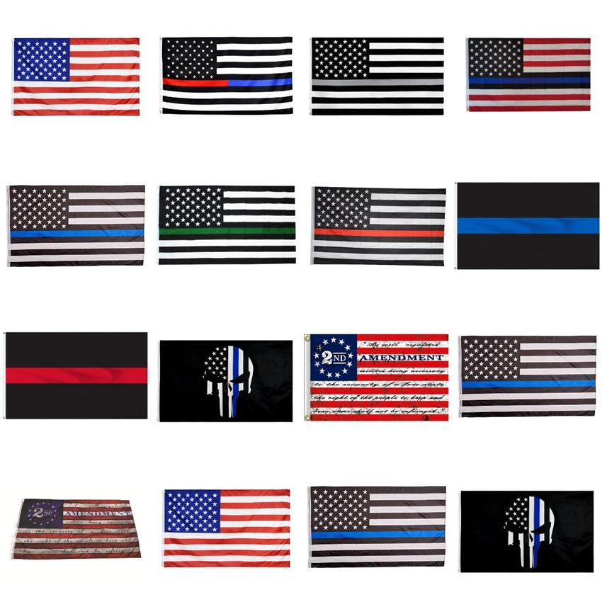 90 * 150cm وأعلام BlueLine USA الشرطة 2ND تعديل خمر العلم الأميركي البوليستر رقيقة الخط الازرق علم الولايات المتحدة الأمريكية CYZ2819