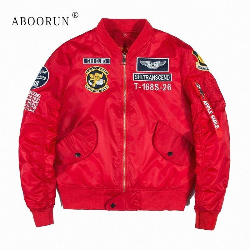 Dropshipping Fornecedores Usa ABOORUN 2018 New US Bomber Jacket Mens bordado Jacket Brasão Baseball Fashion For Casais YC1046 wtM1 #