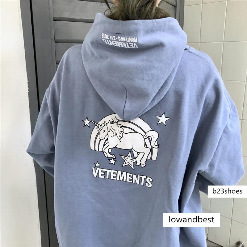 () 2019 BF Harajuku suelta impresa unicornio suéter con capucha de las mujeres de invierno delgada otoño