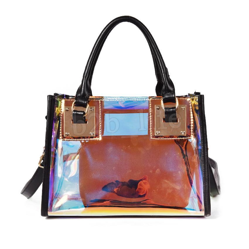 Transparente ombro Holograma Laser Bolsas Bag Mulheres Jelly 20pcs Bag Feminino Harajuku Big Tote menina Messenger Bag MMA1452