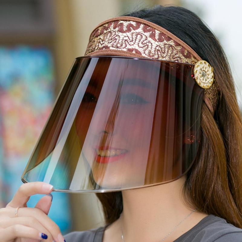 Kadınlar Yaz Karşıtı UV Üst Güneşlik Cap Açık Bisiklet Şapka Güvenlik Koruma Visor Kalkanı Stop The Flying Spit boşaltın faceshield