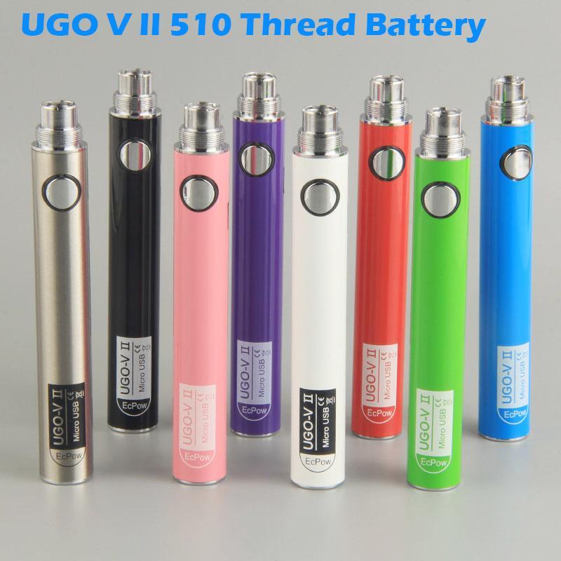 900MAH 650MAH UGO v II Vape Battery 3.7V Napięcie Bateria Starter zestawy 510 Nić baterie Vape z ładowarkami USB Pakowanie par
