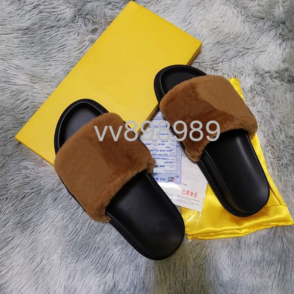 Les femmes Furry Chaussons Fluff lettre hommes de luxe Mode Chaussures casual Bottes Sandales Slides fourrure Pantoufles avec boîte F002
