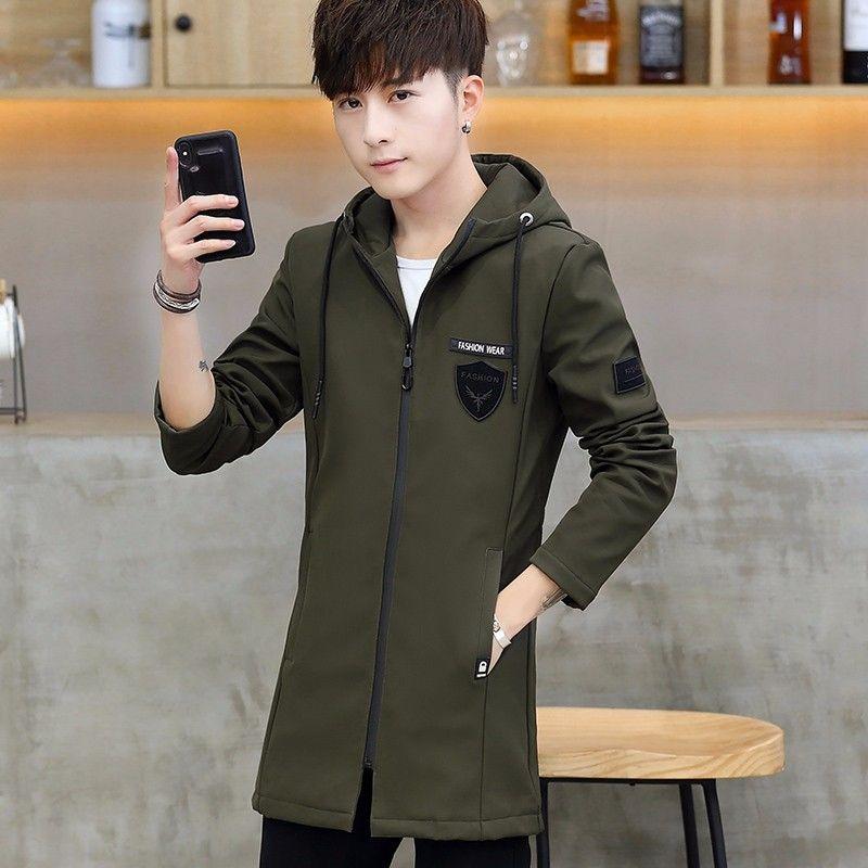 2019 printemps et en automne nouvelle veste hommes veste coréenne mince vêtements mi-longs mode cifOL beau hommes occasionnels