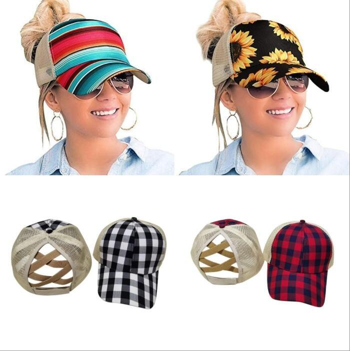Sunflower Criss Cross Baseball Cap Sunflower Plaid Mesh Hallow Out Baseball Hat High Messy Buns Trucker Ponycaps Girls Party Hat OOA8501