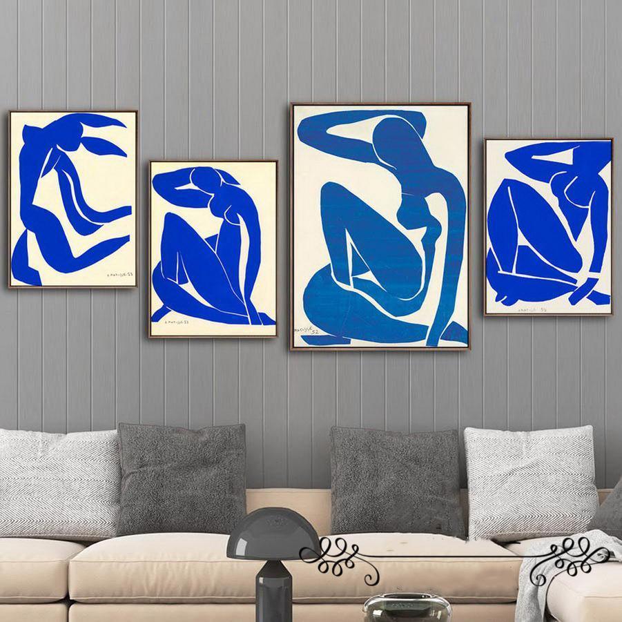 Résumé Décoration Peinture Art Toile française Affiches Nu bleu HD Imprimer Accrochage pour le salon