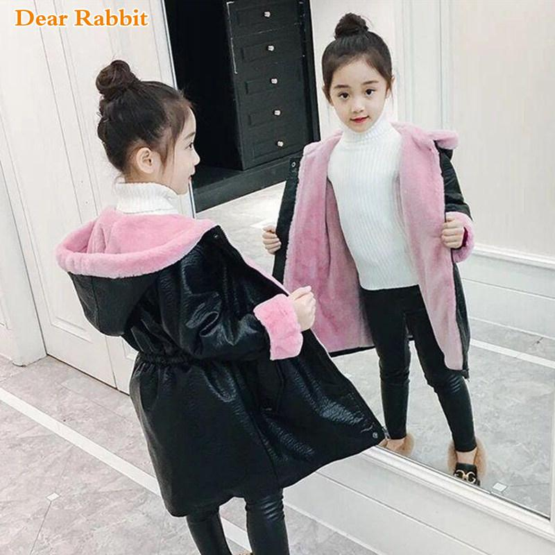 Children kids clothing Winter Thicken Warm Long waterproof Fake fur Jacket 2019 Girls Clothes Hoodie parka Outwear Leather Coat