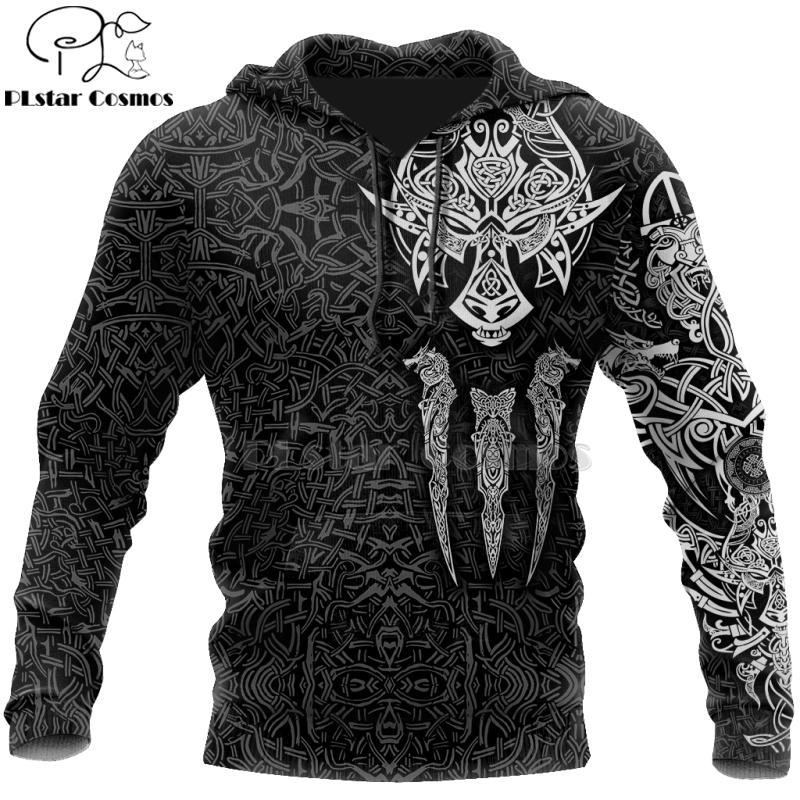 PLstar Cosmos Viking savaşçı Dövme Yeni Moda Eşofman gündelik Fermuar / Hoodie / Kazak / Ceket / Erkekler Kadınlar tarzını-45 Print 3D