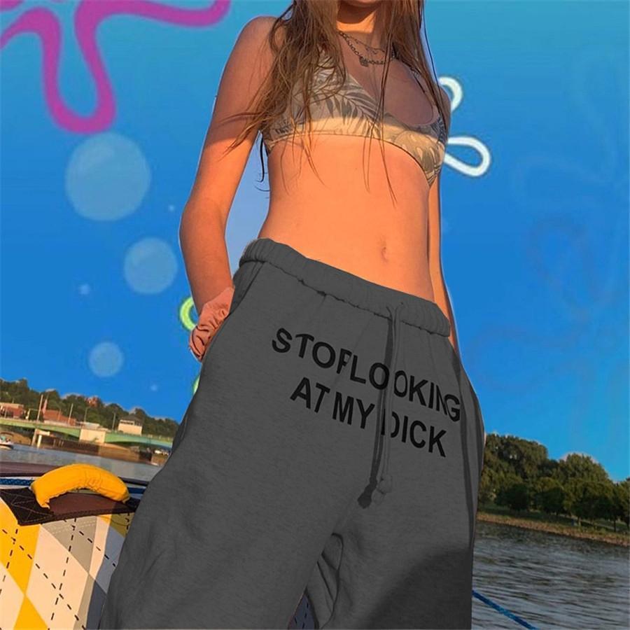 Mujer 2020 desserrées Patchwork actif pur Pantalon Automne Hiver desserrées Pantalons simple femmes rue Loisirs Hip-Hop Punk Sarouel # 392