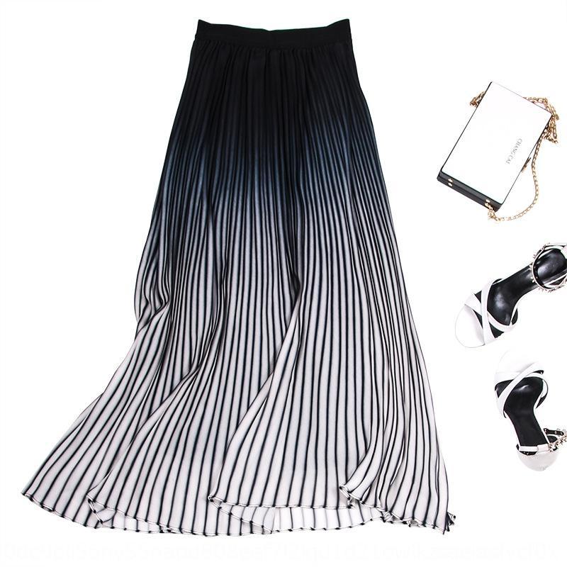 sjqqG Романтический градиент трехмерный гофрированный похудение упругой длиной шифон талии А- линии шифон юбка женщин высокой талии средней длины ск