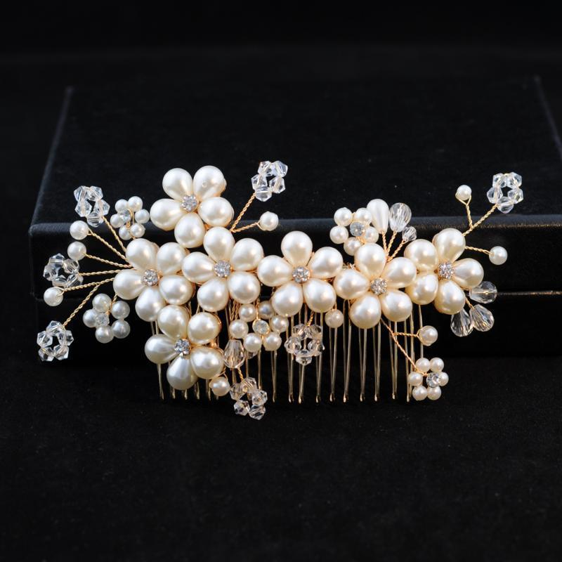 Cabelo Clipes Barrettes Trixy H05 Cristal Dourado Pinos Noiva Atacado Combate Tiara Noiva Bride Pearl Jóias para Girl