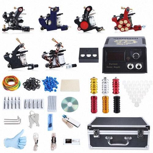 2017 Professional Tattoo Kit 6 Machine Guns Shader Liner Power Supply 50 Needles Tip With Store Box Tattoo Set Three Pin US Plug 0daz#