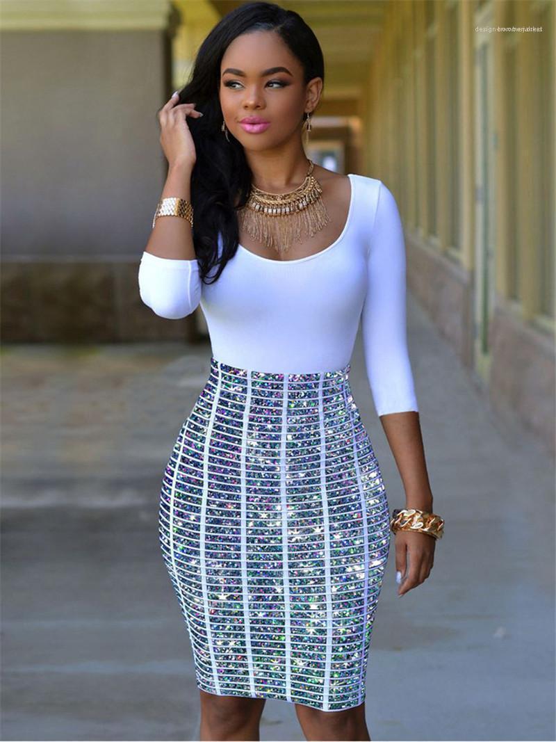 Дизайнер платья цвета контраста высокой талией Hip платье Urban Досуг Стиль Sexy женщин Одежда Летняя женская