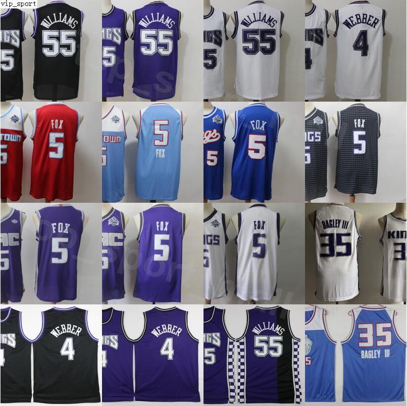 Vintage basquete jason williams jerseys 55 chris webber 4 de aaron raposa 5 marvin bagley iii 35 edição ganhou cidade preto roxo branco