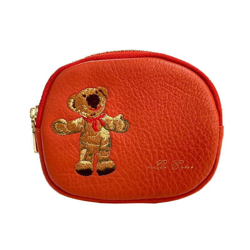 İşlemeli iplik ayı güzel rahat deri sıfır çanta. Üç eklenti kartı ve fermuar moneybag içerir