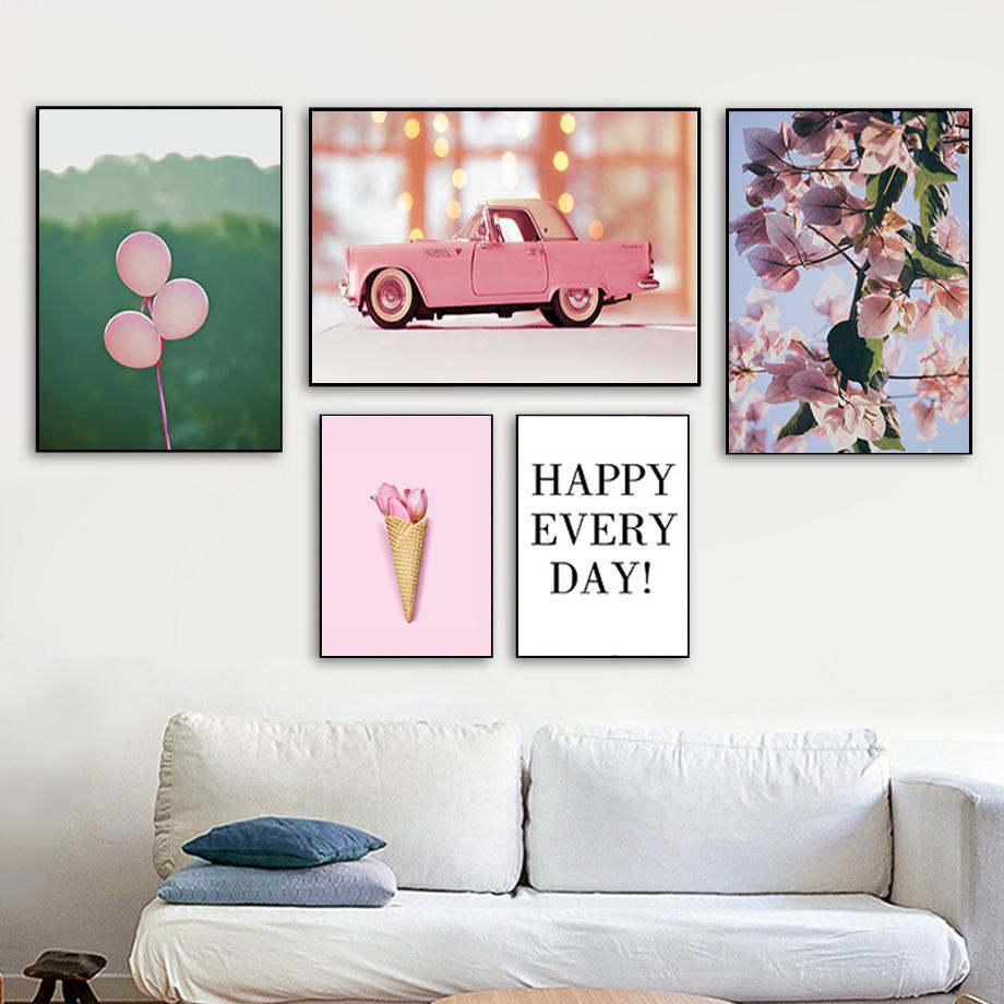 Скандинавский цветов автомобилей Balloon Мороженое Путешествия Пейзаж Плакат Nordic Природа Печать холст стены искусства Картина Главная Room Decor