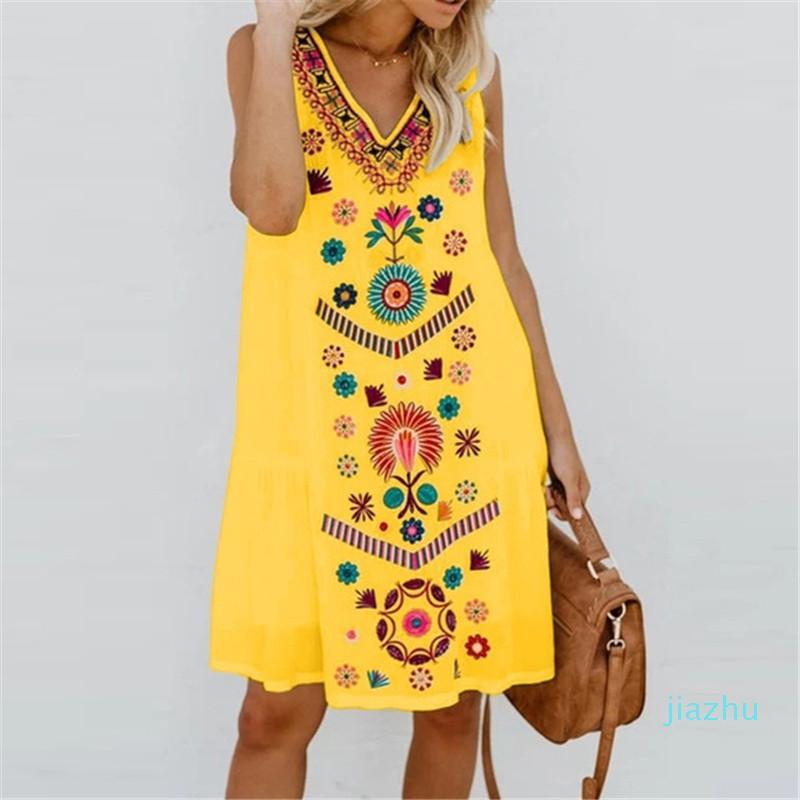 Hot Sale Casual Clothing 5XL Women Flower Print Dresses Sleeveless Summer Fashion V Neck Plus Size Female Clothing Loose
