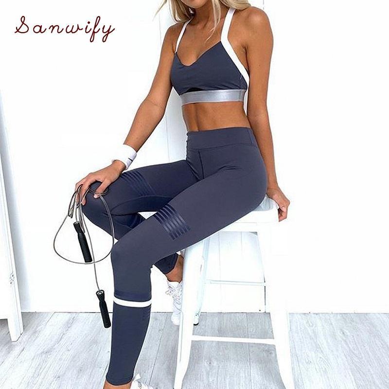 Palestra Yoga Abbigliamento tuta Abbigliamento Abbigliamento sportivo per le donne Allenamento 2 tuta reggiseno e slip Set Fitness Sportswear Leggings