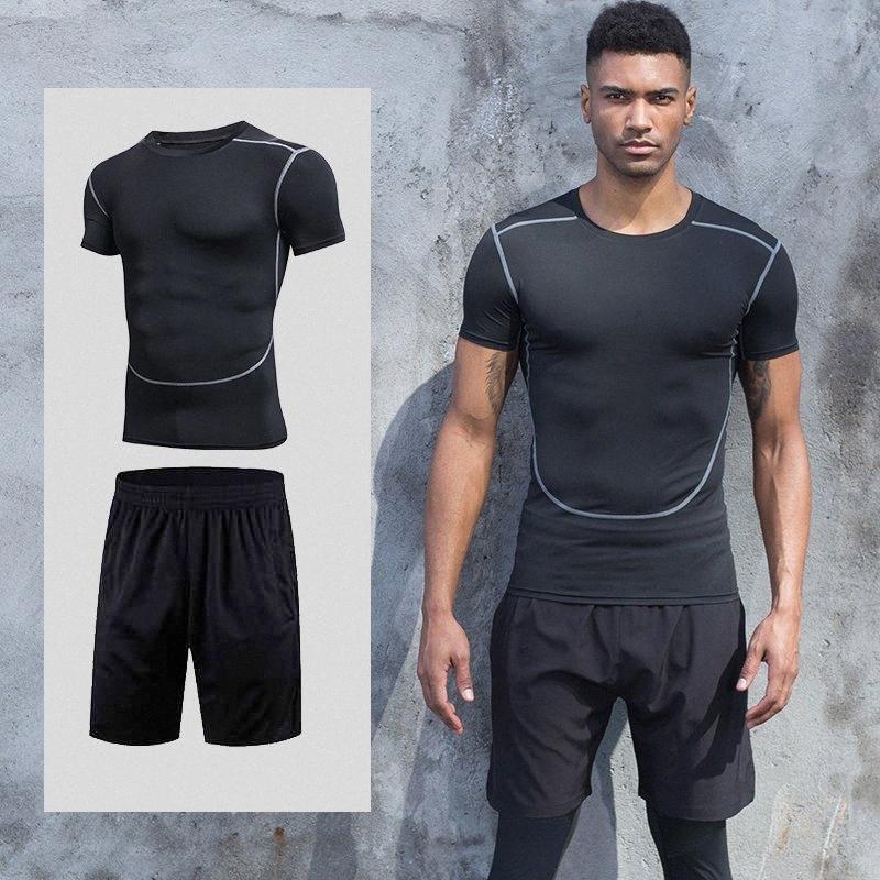Conjunto de duas peças calças de treino terno dos esportes sportswear compressão ginásio dos homens sportswear correndo homens equipamentos de basquete dtyB #