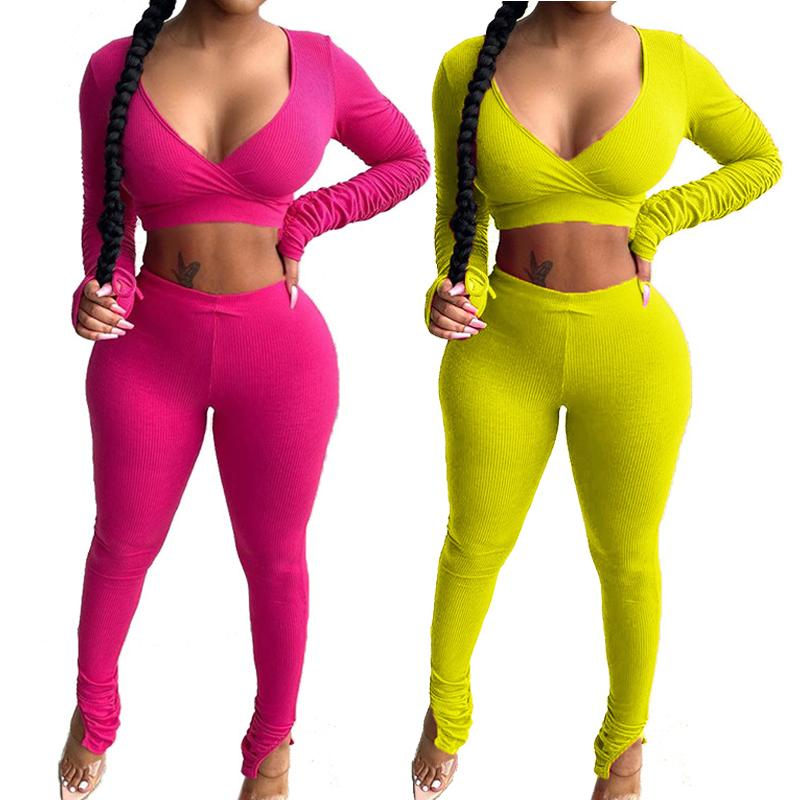 Women Two Piece Suit Sexy Long Sleeve Tracksuits Sports Yoga Crop Tops Pants Sets Ladies Autumn Sportswear Female Running Set 050827