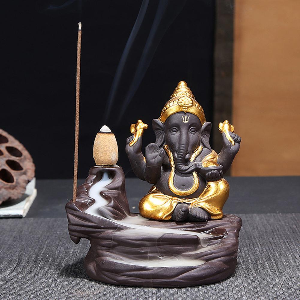 Decoración reflujo quemador de incienso con conos Yoga soporte de cerámica dios del elefante
