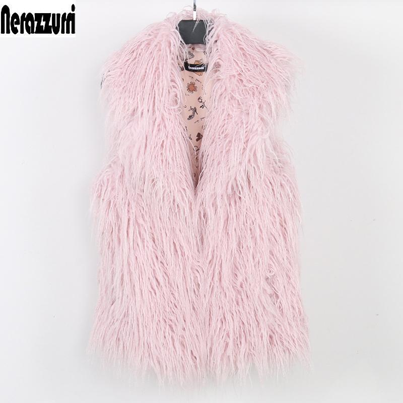 Nerazzurri imitación de las mujeres chaleco de la piel más tamaño pelaje de gran tamaño chaqueta corta de color rosa sin mangas de piel falsa otoño 5XL 6XL 7xl 8XL 200921