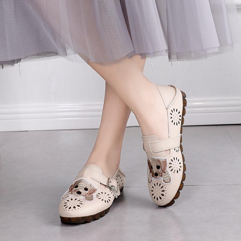los zapatos de cuero de las mujeres planas de los zapatos casuales patrón de cielo abierto de la parte inferior suave cómodo transpirable Negro rojo solo W33-21