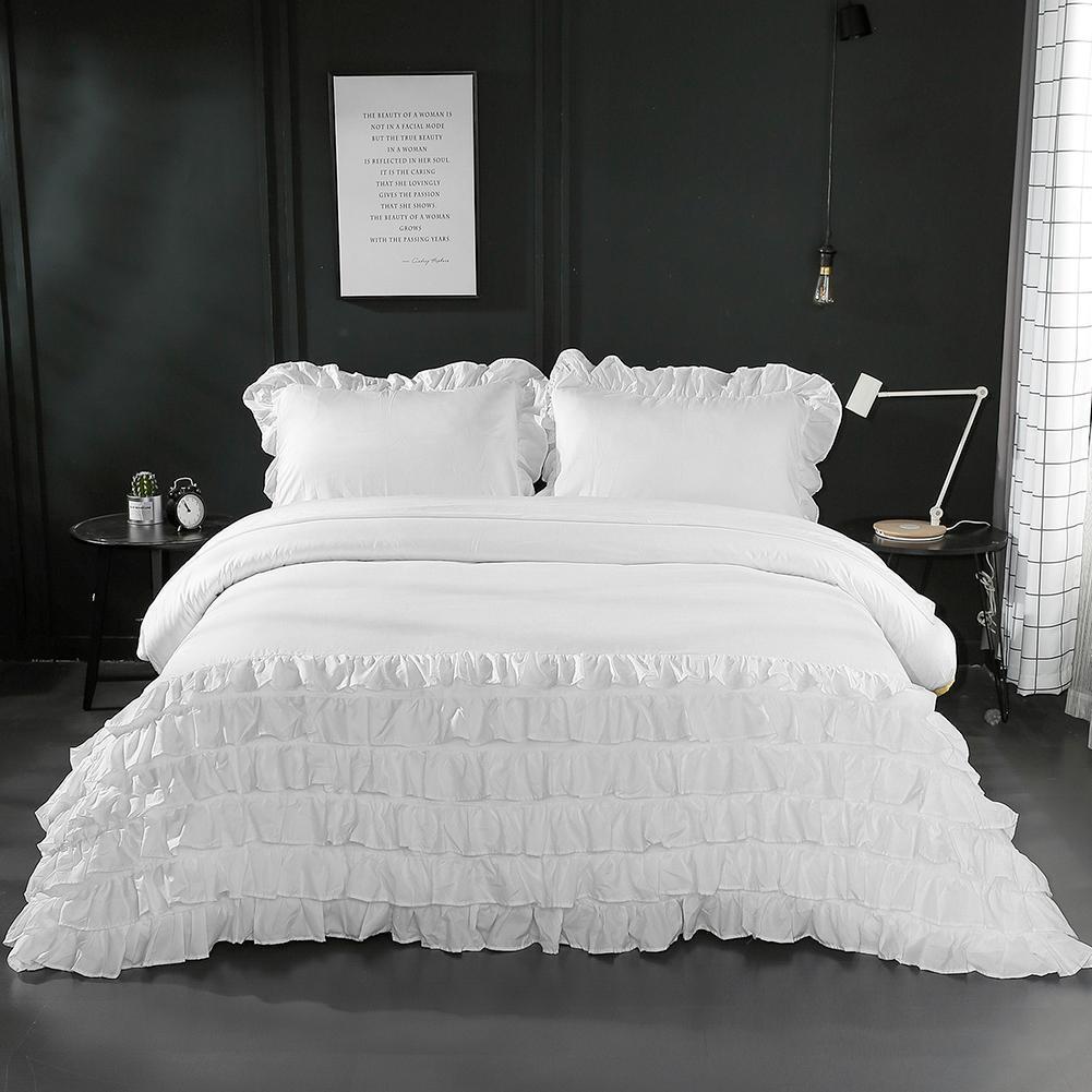 3 Pcs / Set estilo moderno Ruffle poliéster cama Set fronha capa de edredão plissadas rendas conjuntos de cama Y200111