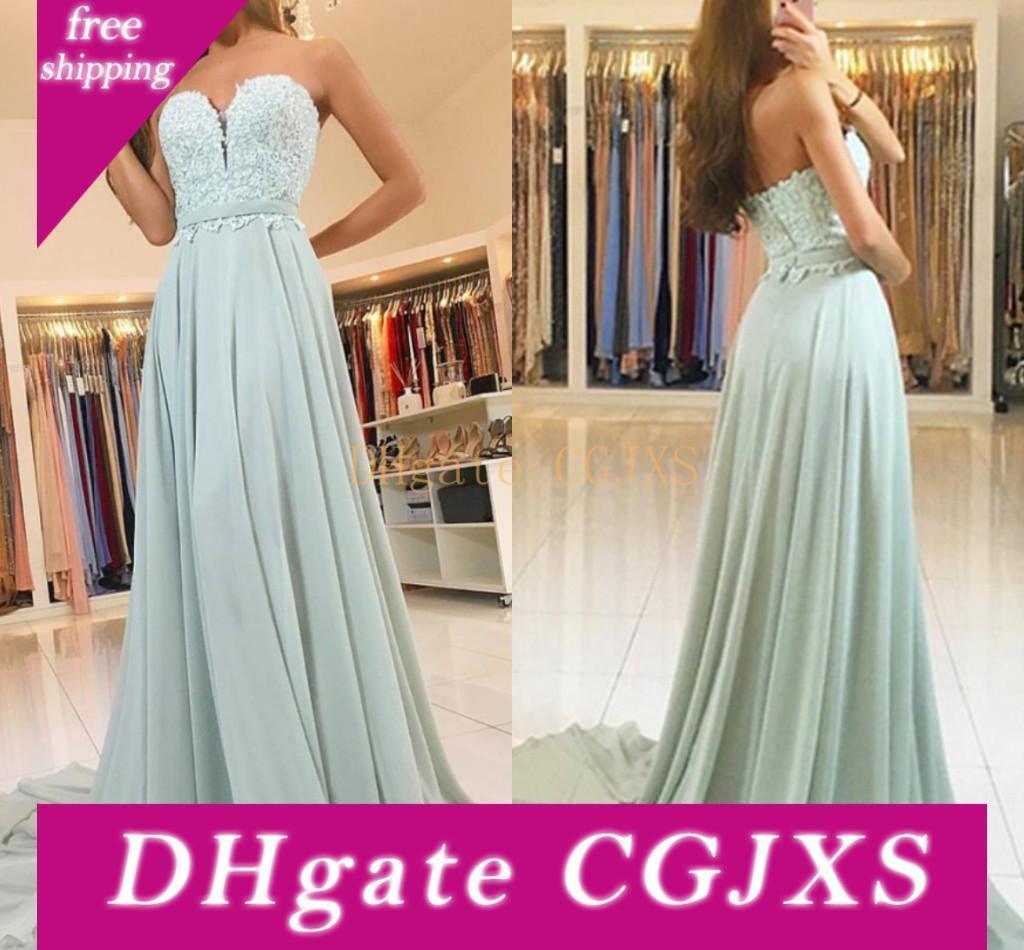 Sábio Mint Chiffon Lace Prom Dresses Querida fita Sash personalizado Backless Vestidos longos vestidos Prom Sweep Trem
