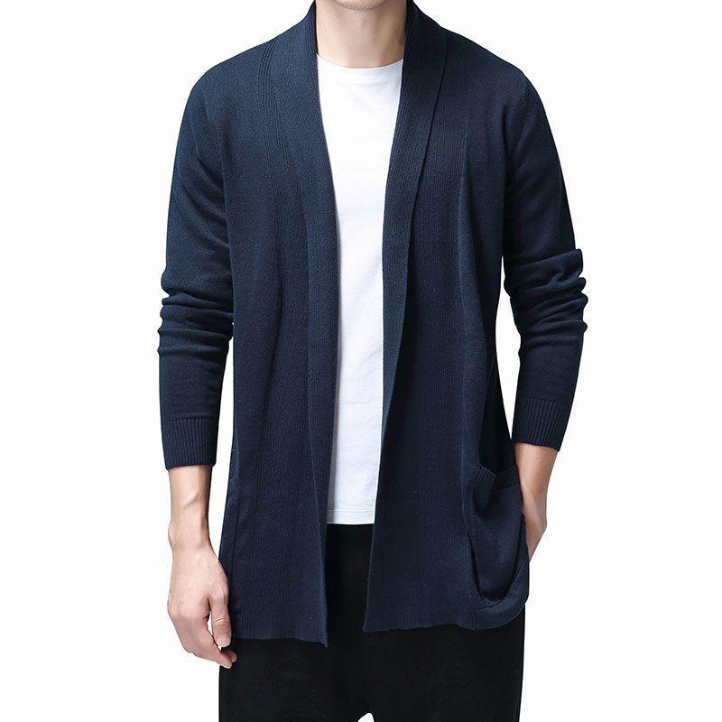 Katı Hırka Erkekler Rasgele Örme Pamuk Süveter erkekler Giyim Uzun Stil Erkek Kazak ve Hırkalar Coat çekin Homme 2020 Triko CX200810