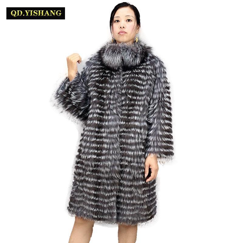 Gerçek gümüş tilki kürk, doğal tilki kürk kadın kürk tilki Yün örme astar, şık standı yaka 2019 QD.YISHANG T200831
