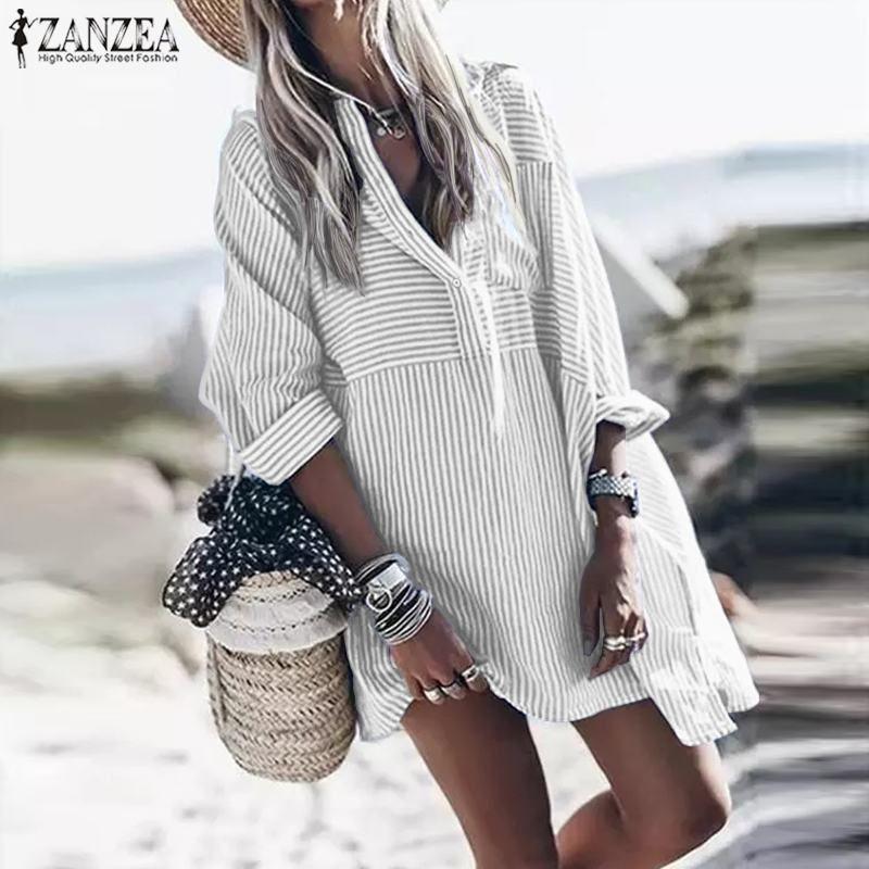 2020 Automne Chemise à manches longues robe ZANZEA Mode Mini Robe Femmes Casual courtes rayé Vestidos Femme Robe Taille Plus 5XL