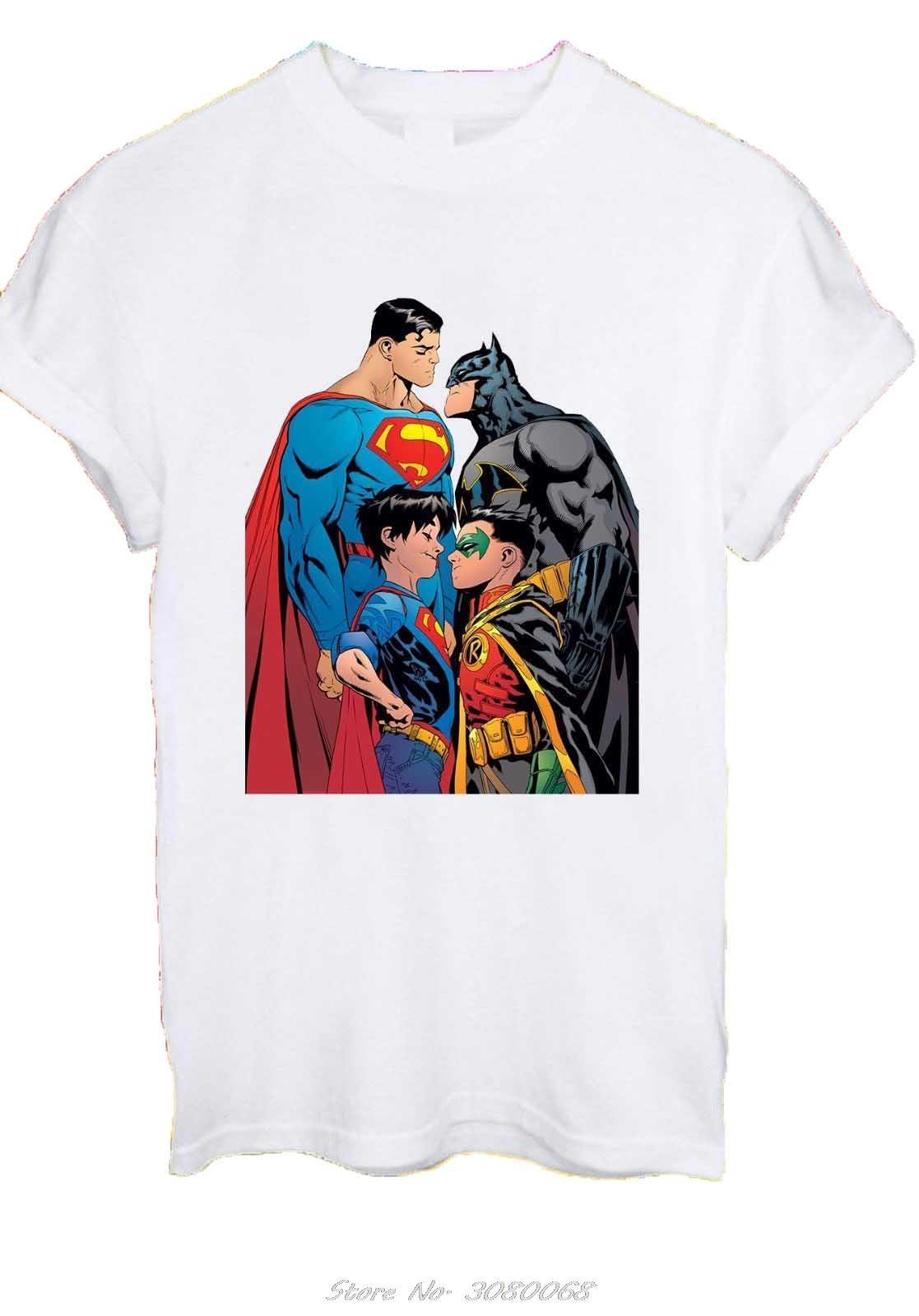 Batman Superman Hijo Robin Liga de la Justicia de la película Héroe Hombres Mujeres camiseta unisex verano de algodón de manga corta del O-Cuello Tops Tee Shirts