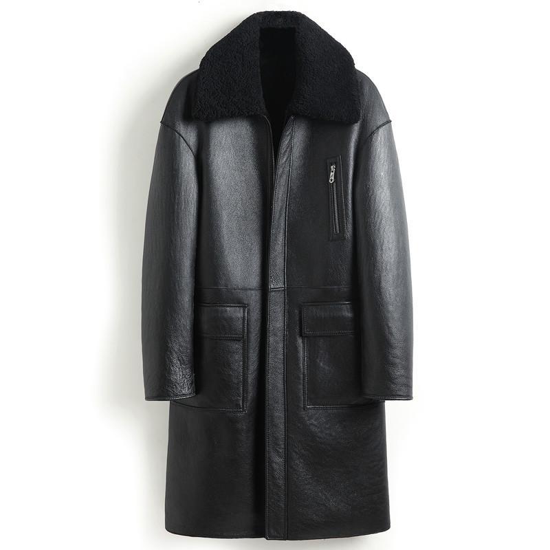 Ovejas piel de oveja chaqueta de cuero genuino del desgaste de los hombres de invierno real del abrigo de pieles de cuero de piel de oveja de doble cara Coats 8408 KJ3633