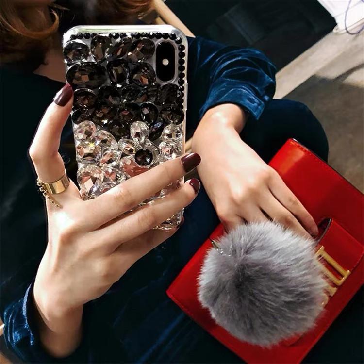 Bling Kristalldiamant-Fox-Pelz-Kugel-Anhänger-Kasten-Abdeckung für Iphone 11 Pro Max XS Max XR X 8 7 6S Plus-Samsung Galaxy S9 S10Plus 20plus ultra