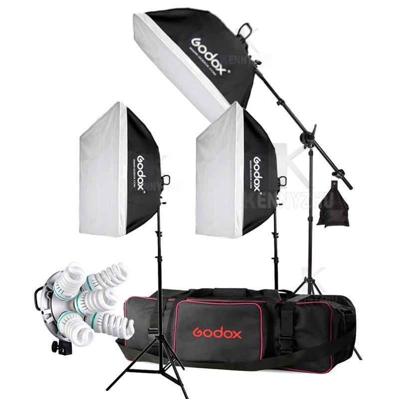Titular 3x Godox TL-5 E27 5 Socket Light + 15PCS 150W 5500K Bombilla Estudio Kit de cabeza de la lámpara de iluminación tricolor Caja de luz continua