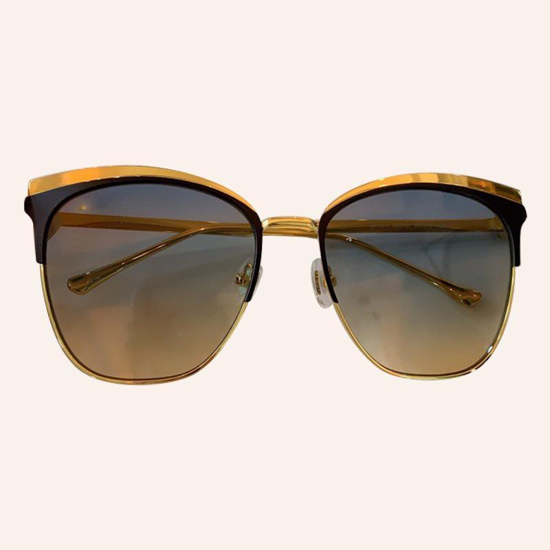 Metà Gli occhiali da sole di marca della struttura del metallo Piazza Occhiali da sole donna Feminino