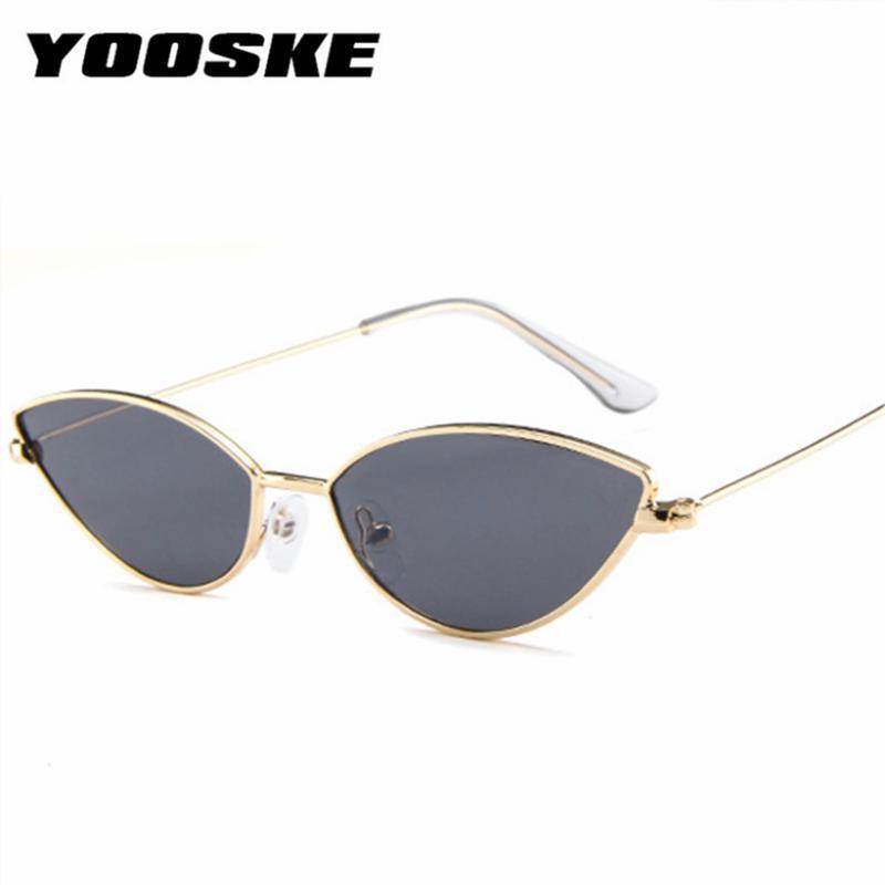 YOOSKE Sexy Cute Cat Eye Sunglasses donne 2020 Estate Retro Piccola Struttura Nero Rosso Cateye Occhiali da sole per le donne