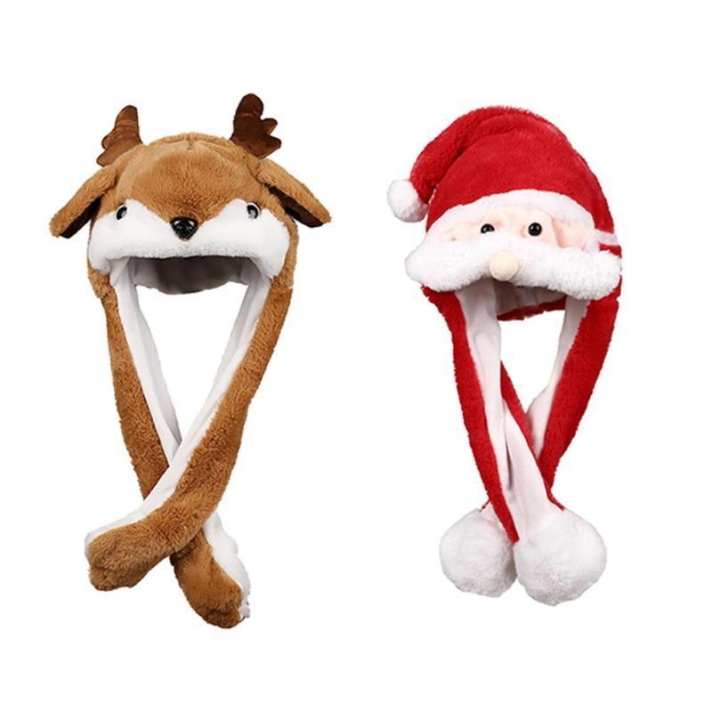 Creative Christmas Hat Moving Ear Plush Santa Claus Elk Type Lighting Kids Toy Fashion Moving Ear Christmas Decoration Hat