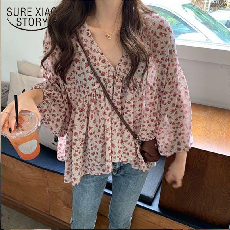 2020 Новый корейский сладкий цветочный принт All-сопрягать Tops Элегантный шифон рубашки Женщины Простой V-образным вырезом рыхлых для Slim с длинным рукавом повелительницы 9307 Y200827