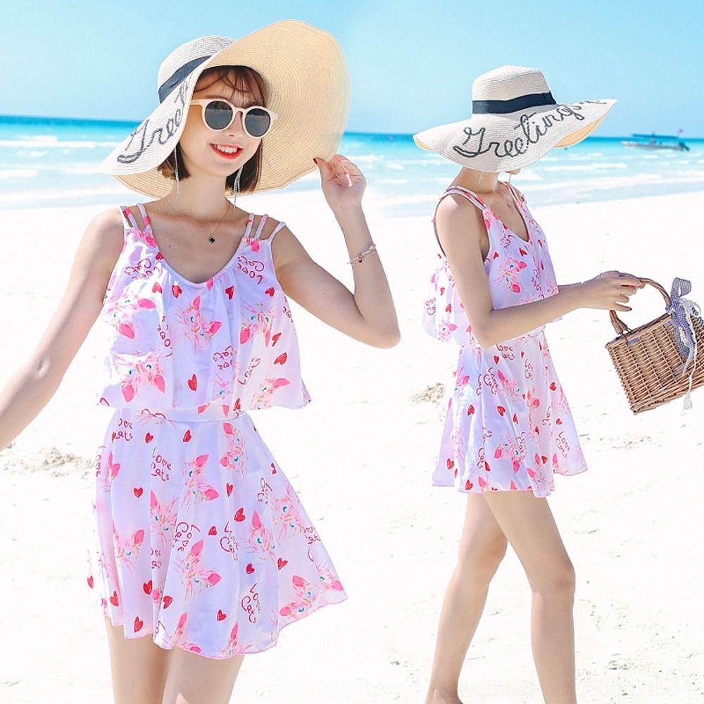 YQmSn OmKIC Корейского свежий женских женщины купальники живот покрытие похудение один цельный платье свободно корейский горячий источник консервативны модный доктор