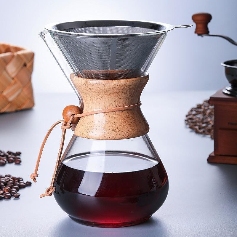 1000ML di vetro Vasi di caffè con filtro stainelss acciaio caffè Percolatori termoresistente turco Coffee Pot Brewer Cafe bollitore