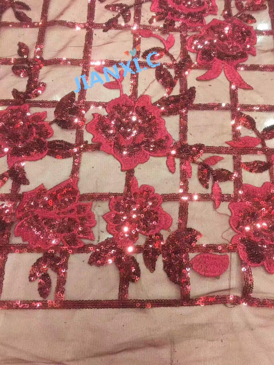 LJY venta caliente 5 yardas africano tela de encaje red Buena calidad de la flor 62017 con tela de encaje de tul francés lentejuelas