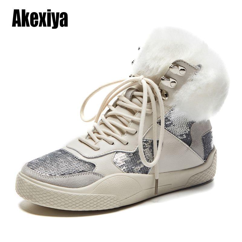 botas de tornozelo 2020 nova lã das mulheres de couro genuíno casuais confortáveis macio retro botas de neve baixa salto Grande u434 tamanho