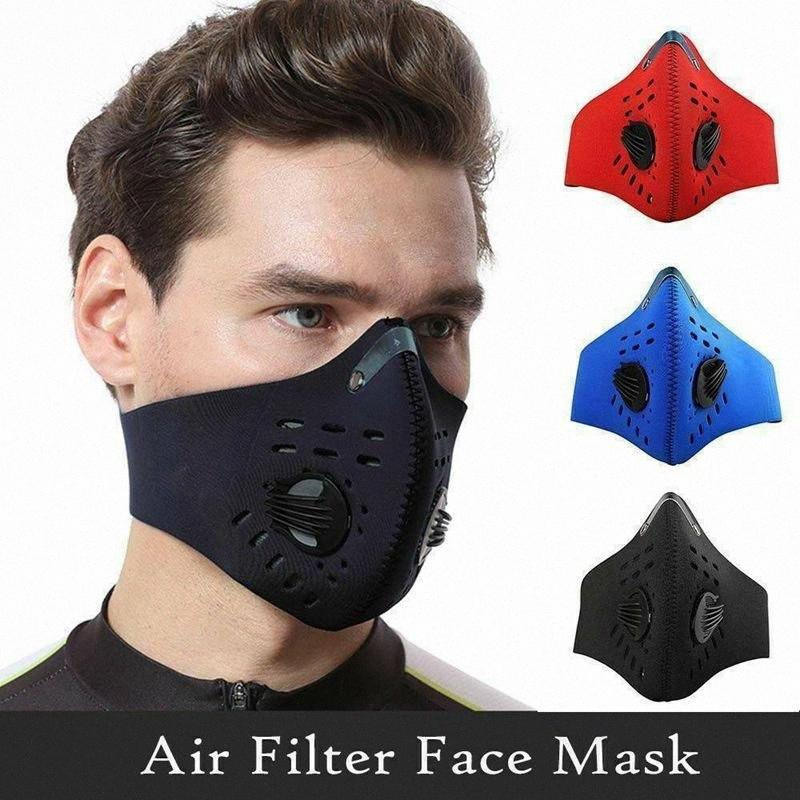 Las máscaras del polvo anti ciclismo PM 2.5 Filtro de boca de mufla de ciclo que compite con la media cara cubierta de la máscara del diseñador con 2pcs Filtro Pad CCA12123 60pcs Tyaz #