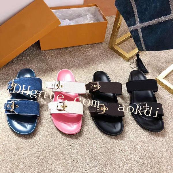 kadınlar mektup sandaletler klasik kadın plaj ayakkabıları 35-45 B11 için 2019 Moda bayan Erkekler ayakkabı Lüks Slaytlar Terlik bayan kama sandalet