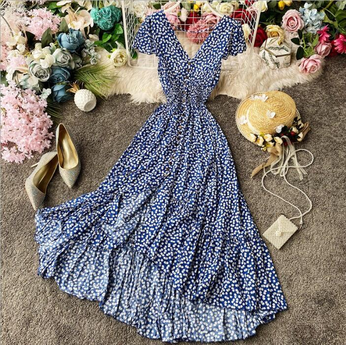 2020 new holiday style sexy open back carefully sweet floral design irregular ruffle dress